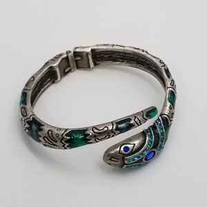 Snake Silver Tone Enamel Crystal Hinged Bracelet